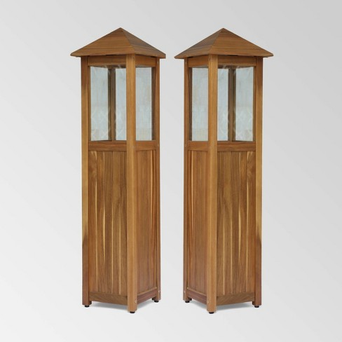 2pk Claudine Standing Acacia Wood Candle Laterns Teak - Christopher Knight Home - image 1 of 4