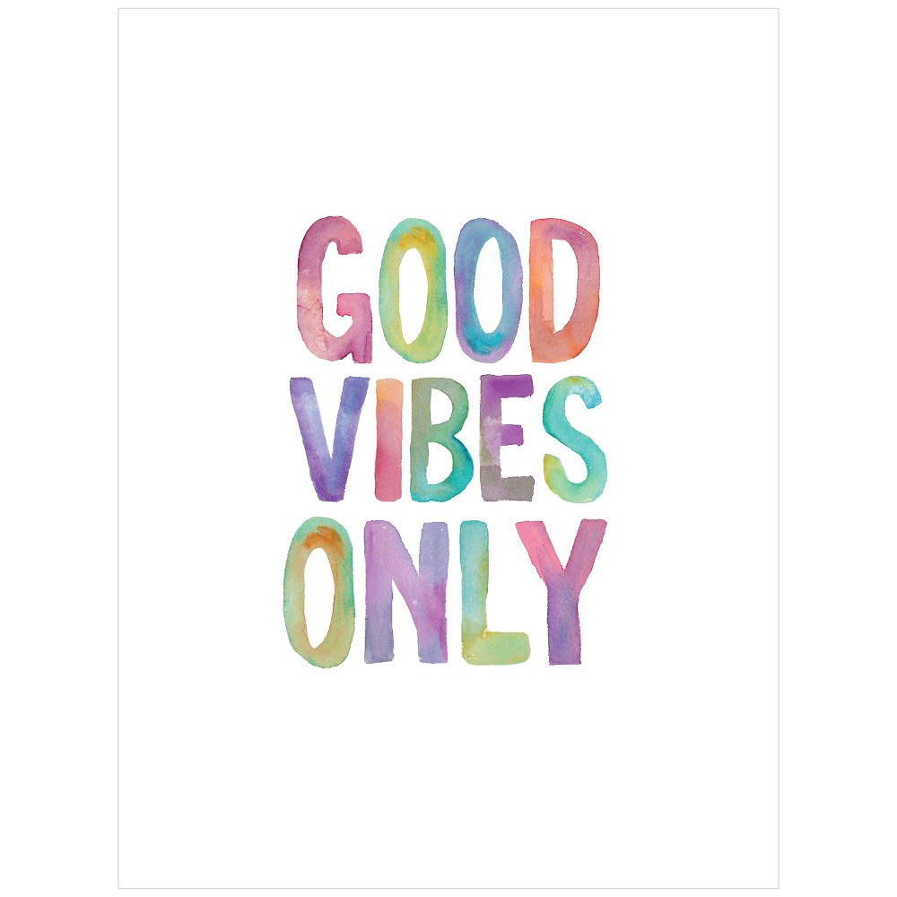 Good Vibes Only Watercolor by Brett Wilson Unframed Wall Art Print, Green