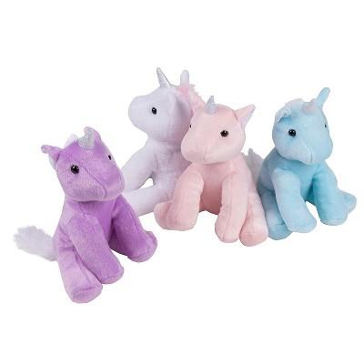 "Blue Panda 4-Pack 7"" Plush Unicorn Toy Stuffed Animal for Kids Birthday Baby Shower Gifts"