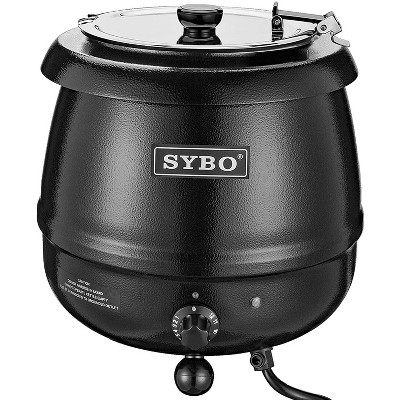 Sybo 10.5Qt Electric Soup Warmer Commercial Crock Pot Slow Cooker w/ Hinged Lid & Removable Stainless Steel Bain Marie for Restaurant/Catering, Black