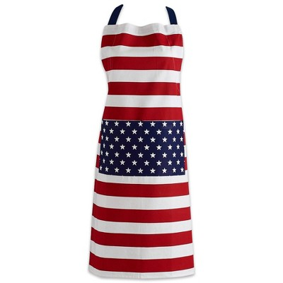 Stars & Stripes Chino Chef Apron Blue/Red - Design Imports