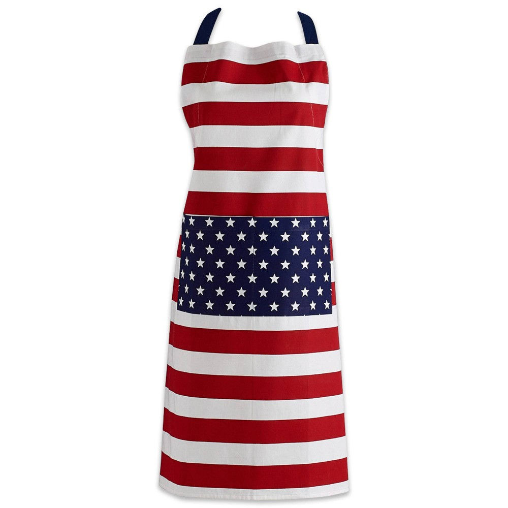 Image of Stars & Stripes Chino Chef Apron Blue/Red - Design Imports