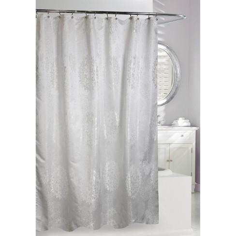 Victoria Shower Curtain White Silver