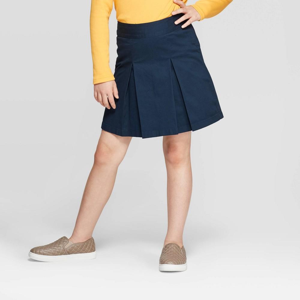 Image of Girls' Uniform Pleated Twill Skort - Cat & Jack Navy 10 Plus, Girl's, Blue