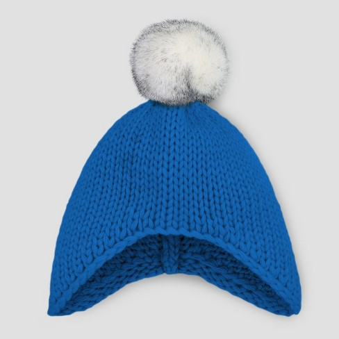 Baby Boys' Beanie with Faux Fur Pom - Cat & Jack™ Blue 0-6M - image 1 of 1