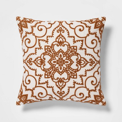 Embroidered Throw Pillow Cream & Gold - Threshold™