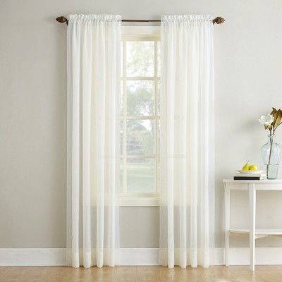 """63""""x51"""" Erica Crushed Sheer Voile Rod Pocket Curtain Panel Eggshell - No. 918"""