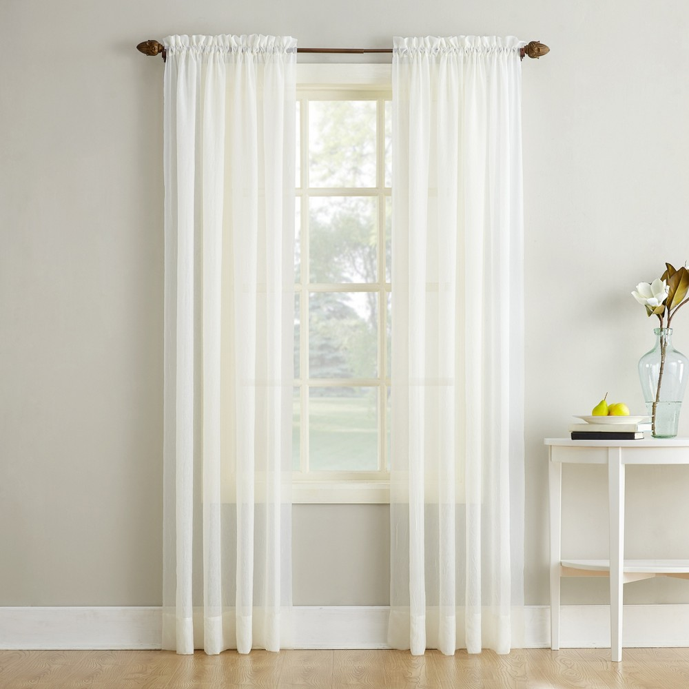 Erica Crushed Sheer Voile Rod Pocket Curtain Panel Eggshell 51