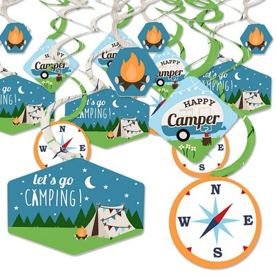 Big Dot of Happiness Happy Camper - Camping Baby Shower or Birthday Party Hanging Decor - Party Decoration Swirls - Set of 40