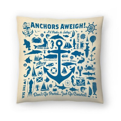 Americanflat Anchor Pattern2 Square by Anderson Design Group Throw Pillow