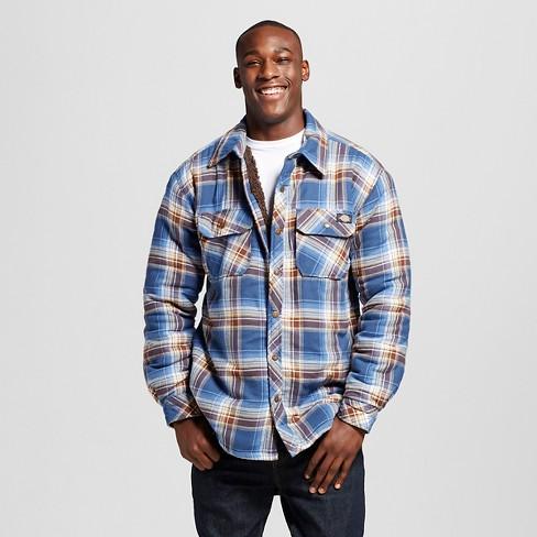 Dickies® - Men's Sherpa Lined Flannel Shirt Jacket Dark Denim M - image 1 of 3