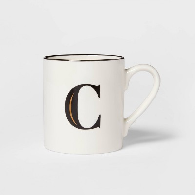 16oz Stoneware Monogram C Mug White - Threshold™