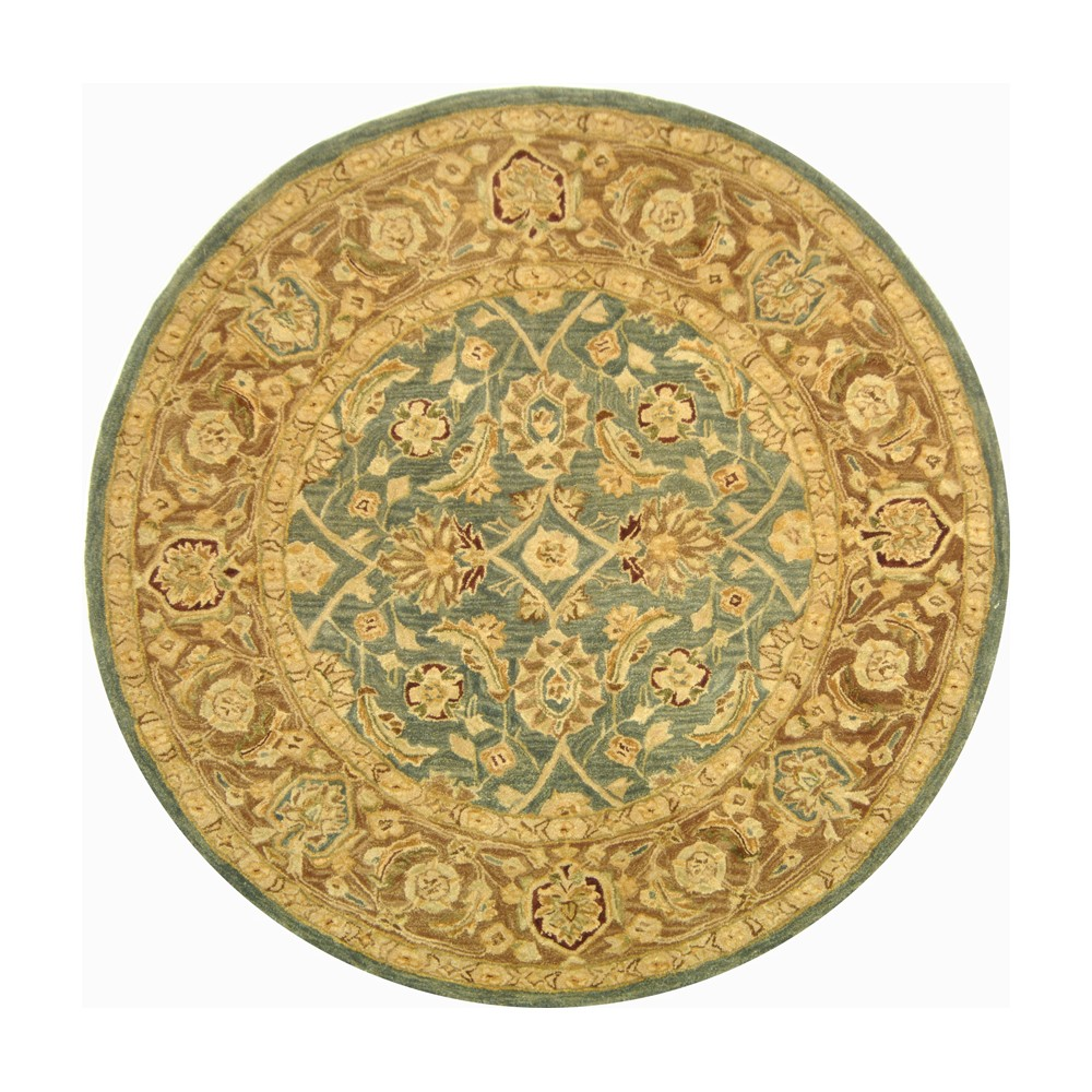 8' Tufted Leaf Round Area Rug Teal Blue/Taupe - Safavieh Product Image