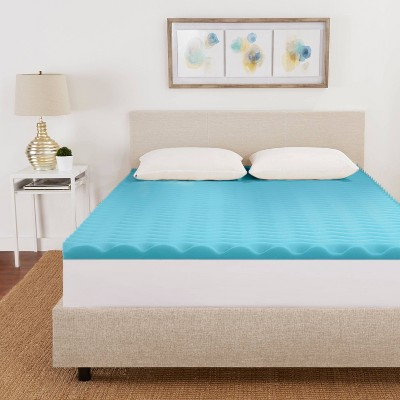 "2"" Reversible Wave Memory Foam Mattress Topper - Sleep Studio"