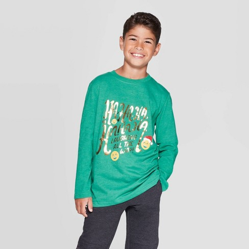 Boys' Long Sleeve Christmas Graphic T-Shirt - Cat & Jack™ Green - image 1 of 3