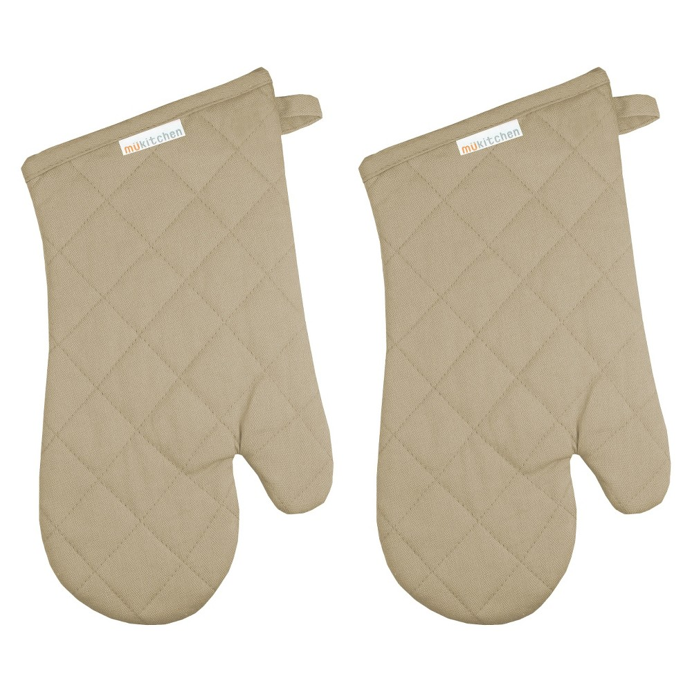 "Image of ""13"""" 2pk Oven Mitt Beige - Mu Kitchen"""