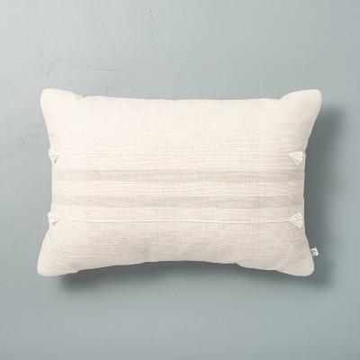 "14"" x 20"" Center Band Stripes Throw Pillow Sour Cream - Hearth & Hand™ with Magnolia"