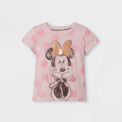 Toddler Girls' Minnie Mouse Cap Sleeve Graphic T-Shirt - Light Pink