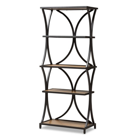 7173 Lancashire Rustic Industrial Style Oak Finished Wood And Metal Bookshelf Black