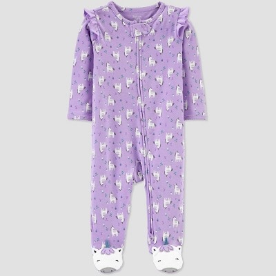 Baby Girls' Unicorn All Over Print 1pc Pajama - Just One You® made by carter's Lilac 3M