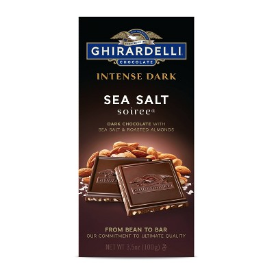 Ghirardelli Intense Dark Chocolate w/ Sea Salt and Roasted Almond Bar - 3.5oz