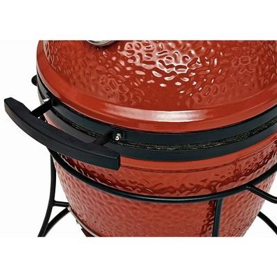 Kamado Joe Joe Jr. Portable Outdoor Ceramic Charcoal Grill & Sturdy Stand, Red