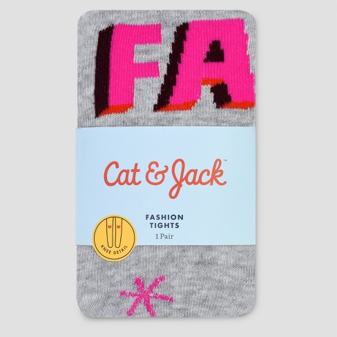 Baby Girls' Fa La Semi Opaque Cotton Tights - Cat & Jack™ Gray 12-24M - image 1 of 1