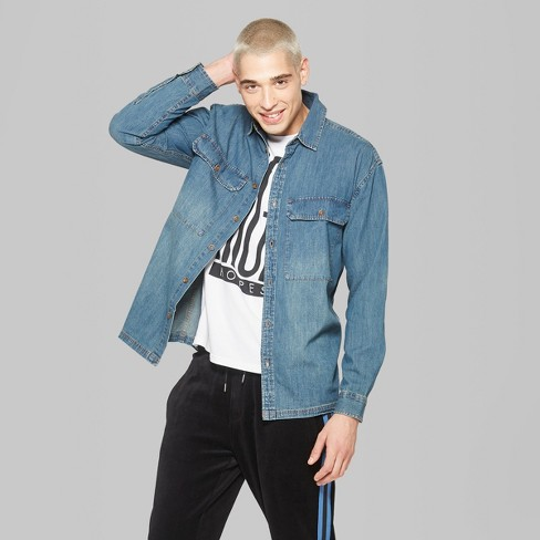 08ad5a4012c Men s Casual Fit Long Sleeve Oversize Denim Button-Down Shirt - Original Use™  Oceanique