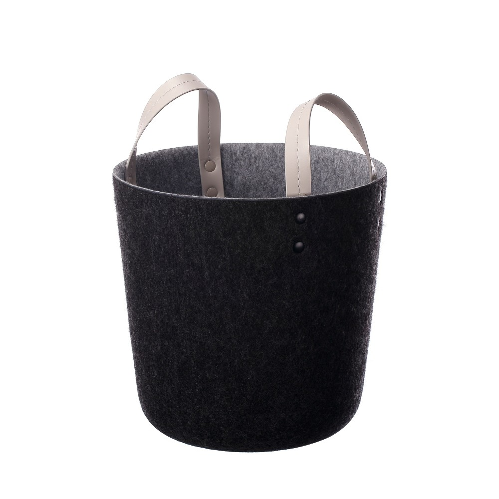 Small Decorative Felt Basket with Leather Handles 10.6