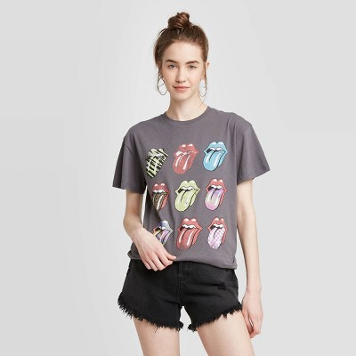 Women's Rolling Stones Multi Logo Short Sleeve Boyfriend Graphic T-Shirt