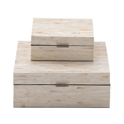 Set of 2 Wooden Boxes with Pattern - Olivia & May