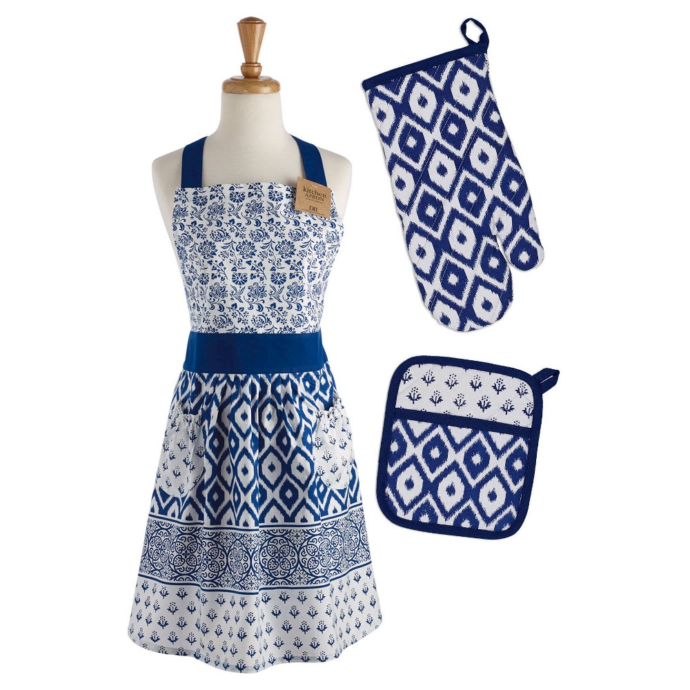 Vintage Aprons, Retro Aprons, Old Fashioned Aprons & Patterns Market Chef Apron Potholder  Oven Mitt Set - Design Imports Blue $43.99 AT vintagedancer.com