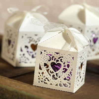 25ct Square Heart Die Cut Wedding Favor Box Ivory