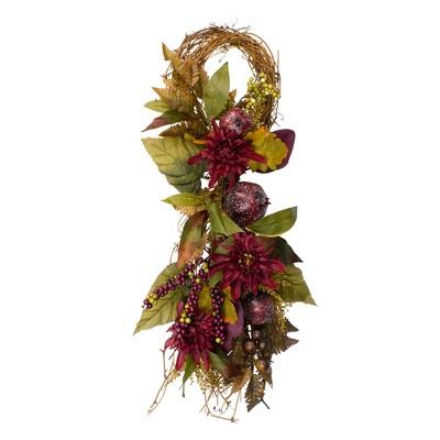 "Northlight 28"" Autumn Harvest Mums with Pomegranate Autumn Grapevine Teardrop Swag - Unlit"