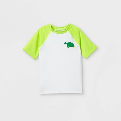 Toddler Boys' Turtle Print Short Sleeve Raglan Rash Guard Swim Shirt - Cat & Jack™ True White