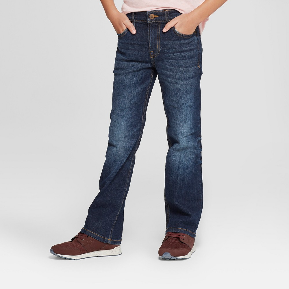 Boys' Bootcut Fit Jeans - Cat & Jack Dark Blue 14 Husky