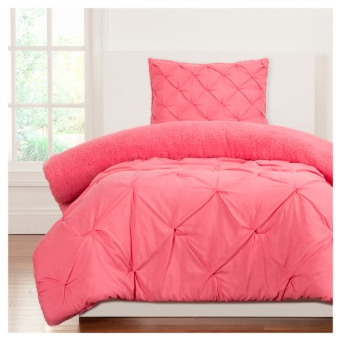 Crayola Pink Playful Plush Pintucked Comforter Set - image 1 of 1