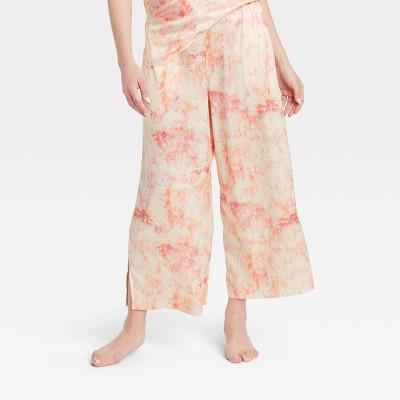 Women's Tie-Dye Satin Cropped Pajama Pants - Stars Above™ Pink