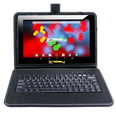 """LINSAY 10.1"""" 1280x800 IPS Tablet Bundle with Black Keyboard Case 32GB"""
