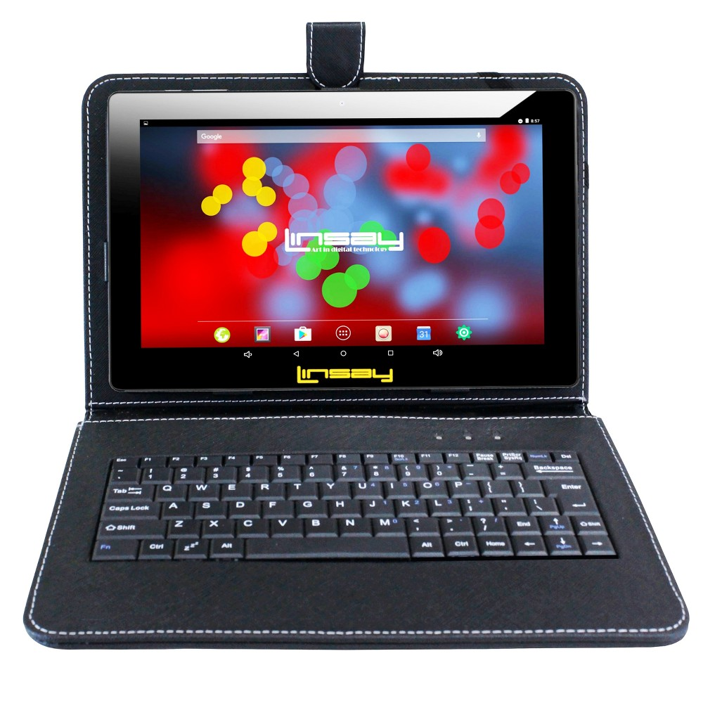 Linsay 10.1 Quad Core 1280x800 Ips Screen Tablet 16GB with Keyboard Case - Black