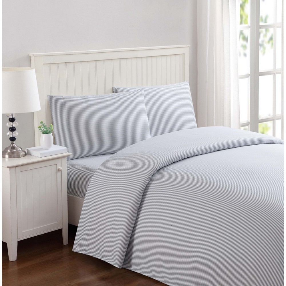 Queen Anytime Striped Sheet Set Gray - My World