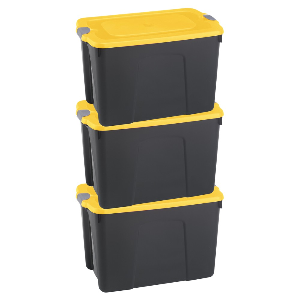 Image of Durabilt31 Gal Storage Totes, Set of 3, Black/Yellow, Clear