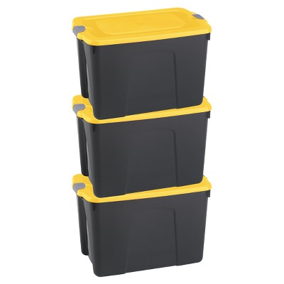 Durabilt®31 Gal Storage Totes, Set Of 3, Black/Yellow