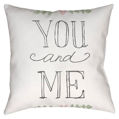 White You and Me Throw Pillow 18 x18  - Surya