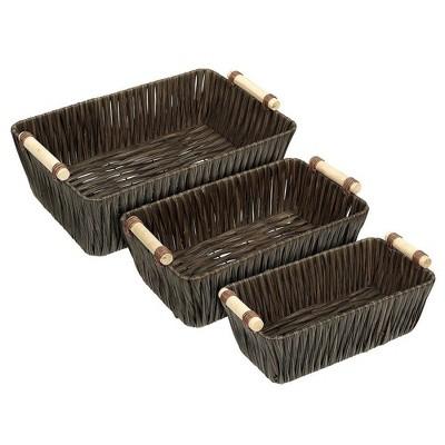 Wicker Basket, Woven Storage Baskets (Brown, 3 Pieces)