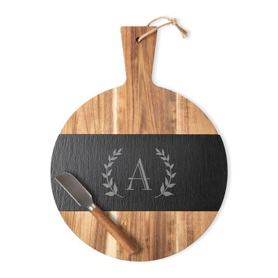"Cathy's Concepts 11.5"" x 15.4"" Wood Personalized Serving Board with Cheese Knife Letter A"