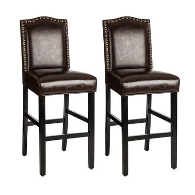 Set of 2 Leatherette Barstools with Studded Decoration - Glitzhome