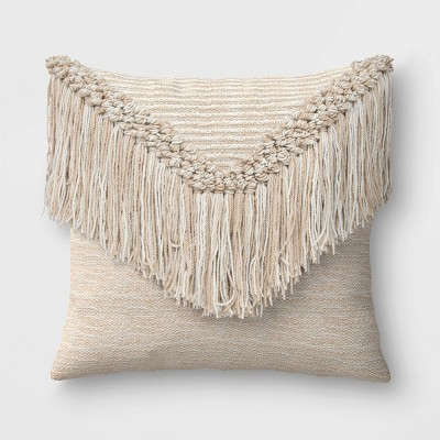 Macrame Outdoor Throw Pillow Natural - Opalhouse™