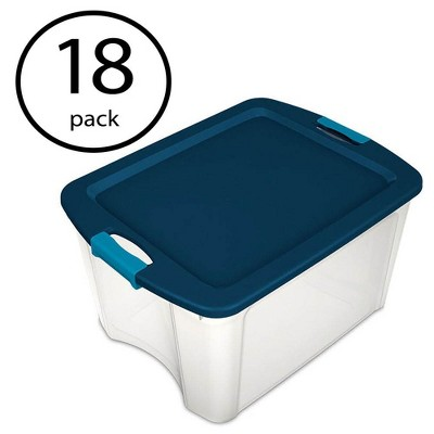 Sterilite 18 Gallon Plastic Storage Container Tote with Latching Lid (18 Pack)