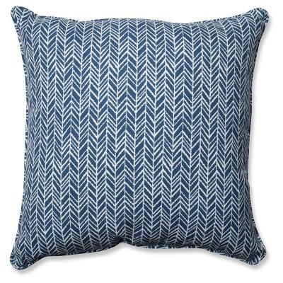 Outdoor/Indoor Herringbone Ink Blue Floor Pillow - Pillow Perfect